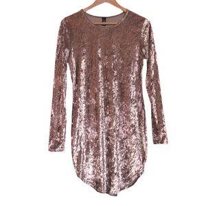 Champagne Velvet Windsor Long Sleeve Mini Dress